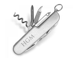 """This Silverplated Pocket Knife is the perfect Confirmation, Bar Mitzvah, Graduation or Groomsman Gift!  This sturdy piece fits perfectly in a Pocket or Purse and the utensils come in handy anywhere: knife, file, reamer and screw driver.  Measures 2.25"""" x .75"""", Utensils 1.5"""". Price includes an optional 3 Initial engraving. Please enter initials in Name Order: First, Middle, then Last.  Please allow five business days for engraving. Additional engraving is optional: $15 for the first 5…"""