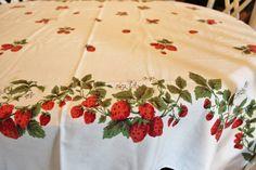 Strawberry Tablecloth Vintage by losttreasures2u on Etsy, $26.99