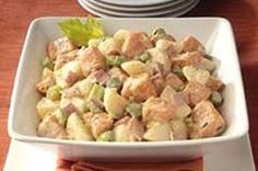 This is the best low carb potato salad ever! Packed with protein and so delicious. It is my all time fave Paleo meal or side dish. Great for BBQs and potluck dinners. Non-Paleo people love it too! paleo lunch for one Paleo Sweet Potato, Salad With Sweet Potato, Potato Salad, Low Carb Potatoes, Paleo Diet Breakfast, Potluck Dinner, Meals, Dinners, Have Time