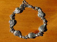 Vintage Sterling & Marcasite Leaf Link Bracelet