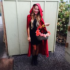 Home made little red riding hood costume diy.