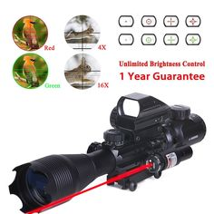 WhaleStone Tactical Rifle Scope for AR15 4-16x50EG Dual Illuminated with Holographic 4 Reticle Red and Green Dot Rifle Sight and Red Laser Sight for 22&11mm Weaver/Picatinny Rail Mount