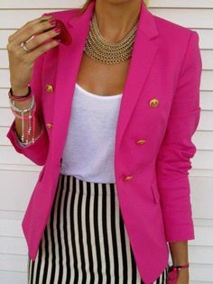 hot pink jacket, white t-shirt and black and white striped skirt. Love the gold buttons on the blazer