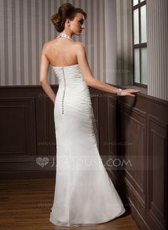 Trumpet/Mermaid Halter Floor-Length Chiffon Satin Wedding Dress With Beading Appliques Lace Sequins Cascading Ruffles (002012582)