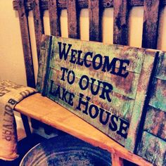 Welcome to our lake house reclaimed wood sign by RusticBarndecor, $45.00