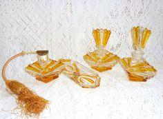 Vintage Art Deco Yellow Crystal VANITY SET 4 Pc Handcut Lead Crystal Bleikristall Heiniger Bernstein.