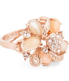Rosamaria G Frangini ... Flower Essence. Jewelmint Blushing Bouquet Cocktail Ring