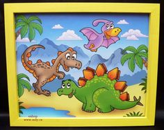 Kreslené dětské obrázky. Malovaný dracek,brontosaurus, tiranosaurus. 249,-  Kč eshop www.soly.cz