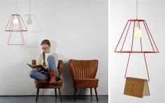 An iconic and minimalist hanging lamp for a book.