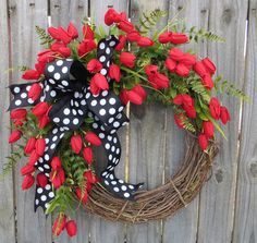 Wreath with Red Tulips, Wreath with Black Polka Dots, Tulip Wreath, Red Wreath, Wreath for Door Mantle or Wall