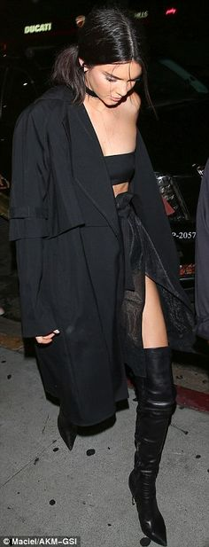 Kendall Jenner wears bandeau top and fabric wrap skirt