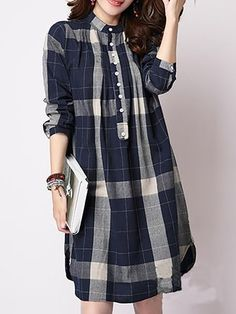 Discover Band Collar Single Breasted Curved Hem Plaid Shift Dresses online with cheap prices and shop fashion Shift Dresses for any events or occasions at berrylook Vancol Women Gingham Shirting Plaid Long Blouses O neck Long Sleeve Shirts Plus Size Casua Casual Dresses For Women, Cute Dresses, Clothes For Women, Mode Hijab, Dresses Online, Fashion Dresses, Shift Dresses, Single Breasted, Blue Fashion