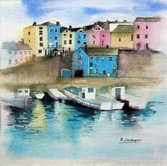 Fine art print of original watercolour painting of Tenby Harbour, Wales. Environment Painting, Built Environment, Watercolor Sea, Watercolour Painting, Shabby Chic Art, Sea Pictures, Funky Art, Rustic Art, A Level Art