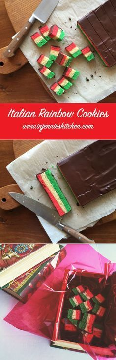 italian rainbow cookies An Italian bakery classic you can now enjoy making at home. These rainbow cookies are loved by kids and adults alike. Get the recipe for this festive holiday cookie at In Jennie's Kitchen. Italian Cookie Recipes, Italian Cookies, Italian Desserts, Italian Dishes, Holiday Drinks, Holiday Desserts, Holiday Recipes, Christmas Recipes, Holiday Crafts