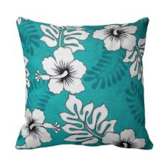 A Hibiscus On Turquoise Throw Pillow