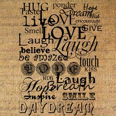 Live Love Laugh Quote Word Typography Digital Image Download Transfer To Pillows Totes Tea Towels Burlap No. 2287 via Etsy