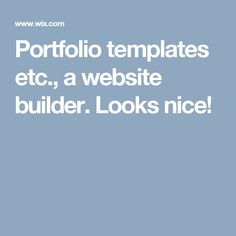 Portfolio templates etc., a website builder. Looks nice!