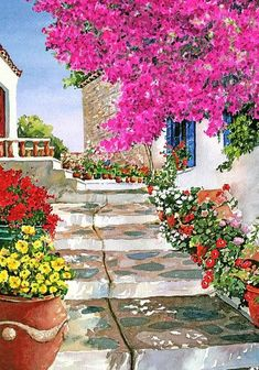 Watercolor Landscapes by Pantelis D. Zografos - Skiathos Steps