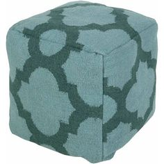 Moroccan Hand Made Teal Medallion Wool Pouf, TURQUOISE