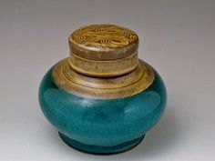 Turquoise Lidded Jar  Functional Urn by earthtoartceramics on Etsy