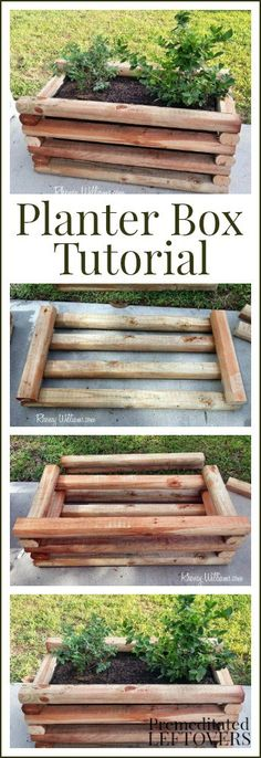DIY Planter Box Tutorial perfect for growing berries and other fruit plants on . DIY Planter Box T Diy Planter Box, Diy Planters, Garden Planters, Log Planter, Outdoor Projects, Garden Projects, Container Gardening, Gardening Tips, Potager Palettes