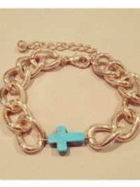 $16 Gold chunky chain link bracelet with turquoise cross charm. at https://shopsto.re/items/1518 #accessories #jewelry