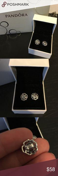 Pandora Shimmering Rose Earrings New never used comes in original box Pandora Jewelry Earrings
