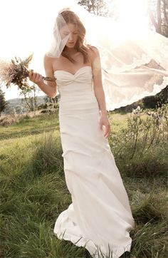 nicole miller silk crepe de chine strapless gown.