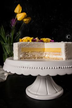 Coconut and Yuzu Entremets · Cooking me softly Entremets cocco e yuzu Desserts Français, Desserts With Biscuits, French Desserts, Custard Cake, Mousse Cake, Entremet Recipe, Russian Cakes, Cake Recipes, Dessert Recipes