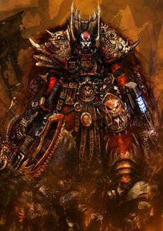Angron (also known as the Red Angel) is the Primarch of the World Eaters. He fell to Chaos during the Horus Heresy, afterwards becoming a Daemon Prince of Khorne.