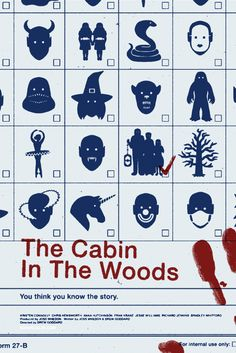 Fan poster for The Cabin In The Woods by Noah Scalin.