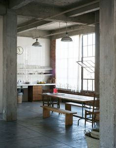 Christina Kim's table in the kitchen of Dosa 818, the loft that's featured in Remodelista: A Manual for the Considered Home. Photograph by Matthew Williams for Remodelista.