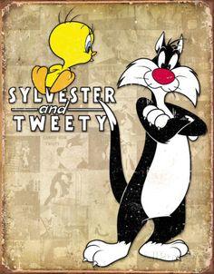 Tweety & Sylvester Retro Placa de lata