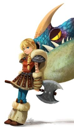 How to Train Your Dragon 2 - Astrid and Deadly Nadder by Gurihiru *