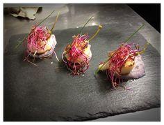 Capesante con vellutata di patate viola