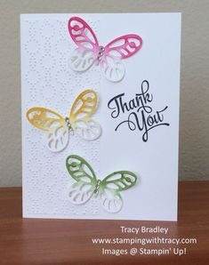 Butterfly Thank you card by Tracy Bradley using Stampin' Up! Butterfly Cards Handmade, Greeting Cards Handmade, Scrapbook Cards, Scrapbooking, Thanks Card, Stamping Up Cards, Bird Cards, Mothers Day Cards, Sympathy Cards