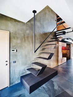 Architecture / Design: Karakoy Loft by Ofist Instabul. Mehr – Ann Cerncic Architecture / Design: Karakoy Loft by Ofist Instabul. Mehr Architecture / Design: Karakoy Loft by Ofist Instabul. Stairs Architecture, Interior Architecture, Luxury Interior, Escalier Design, Modern Stairs, Metal Stairs, Concrete Stairs, Contemporary Stairs, Contemporary Style