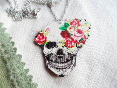 Silver plated necklace with a flowery skull pendant, wood jewellery, Selma Dreams bohemian accessories, Day of the Dead Jewelry by SelmaDreams on Etsy