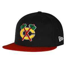 Chicago Blackhawks Fitted New Era 59Fifty Flatbill Hat with Red Bill  Tomahawks Logo by New Era 4ac8ddebf3d7