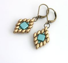 superduo and czech tile beads earrings