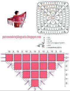 4 modelos de chales crochet - diagramas | Patrones de tejido