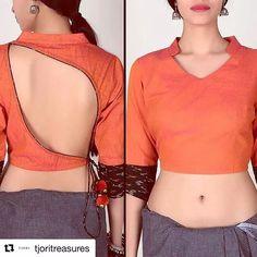 30 Latest Blouse Back Neck Designs In 2019 Blouse Back Neck Designs, Saree Blouse Designs, Blouse Styles, Mehndi Design Photos, Mehndi Designs, Saree Jackets, Sari Blouse, Bodysuit Fashion, Cotton Blouses