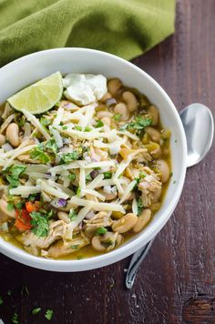 A quick, healthy and satisfying chicken and white bean chili recipe that's equally at home on a weeknight, in your lunch bag, or doubled for a dinner party.