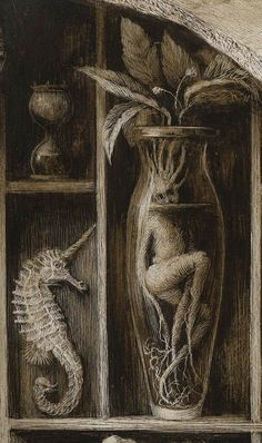 blessed wild apple girl Baba Yaga has several such . - blessed wild apple girl Baba Yaga has several such tubed vases in her house. Fantasy Creatures, Mythical Creatures, Illustration Book, Halloween Illustration, Book Illustrations, Arte Obscura, Bizarre, Surreal Art, Dark Art