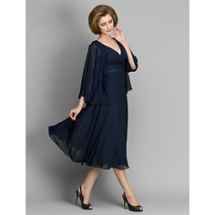 A-line Mother of the Bride Dress - Dark Navy Tea-length 3/4 Length Sleeve Chiffon – USD $ 99.99