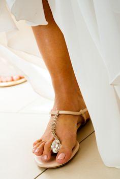Unique flip-flop for a beach wedding