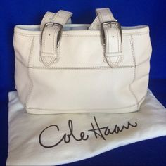 "Cole Haan Handbag Classic offwhite leather purse with 5 hole adjustable straps . In good condition with normal ware on bottom side of straps. 10"" height x 15"" length x 6"" wide. Cole Haan Bags"