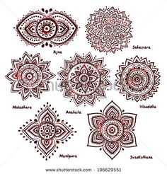 Isolated Set of beautiful ornamental 7 chakras - stock vector, Mandala tattoo, Mandala Tattoo Design, Dotwork Tattoo Mandala, Henna Tattoo Designs, Mandala Tattoo Shoulder, Mandala Sleeve, Top Of Shoulder Tattoo, 7 Chakras, Sacral Chakra, Neue Tattoos