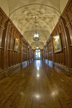 Peacock Alley, the main hallway to the left of the main entrance, leading past the library to the conservatory. Castle Rooms, Castle On The Hill, Toronto Travel, Ice Houses, Old Stone, Close To Home, Main Entrance, Conservatory, Building A House