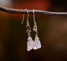 Raw Rose Quartz Earrings with Tourmaline Beads in Silver Wire.Raw Stone Earrings.Stone Jewelry.Silver Jewelry.Handmade.Birth Stone  https://www.etsy.com/il-en/listing/254745417/raw-rose-quartz-earrings-with-tourmaline?ref=shop_home_active_4
